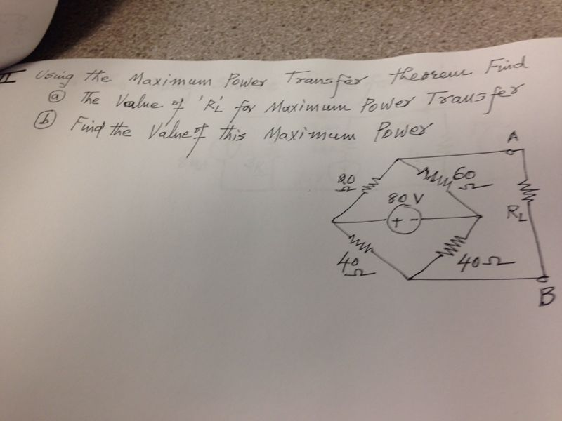 Using the Maximum Power Transfer theorem Find The