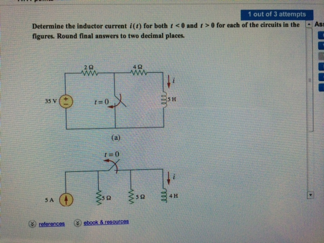 Determine the inductor current i(t) for both t<0 a