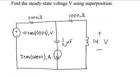 Find the steady-state voltage V using superpositio