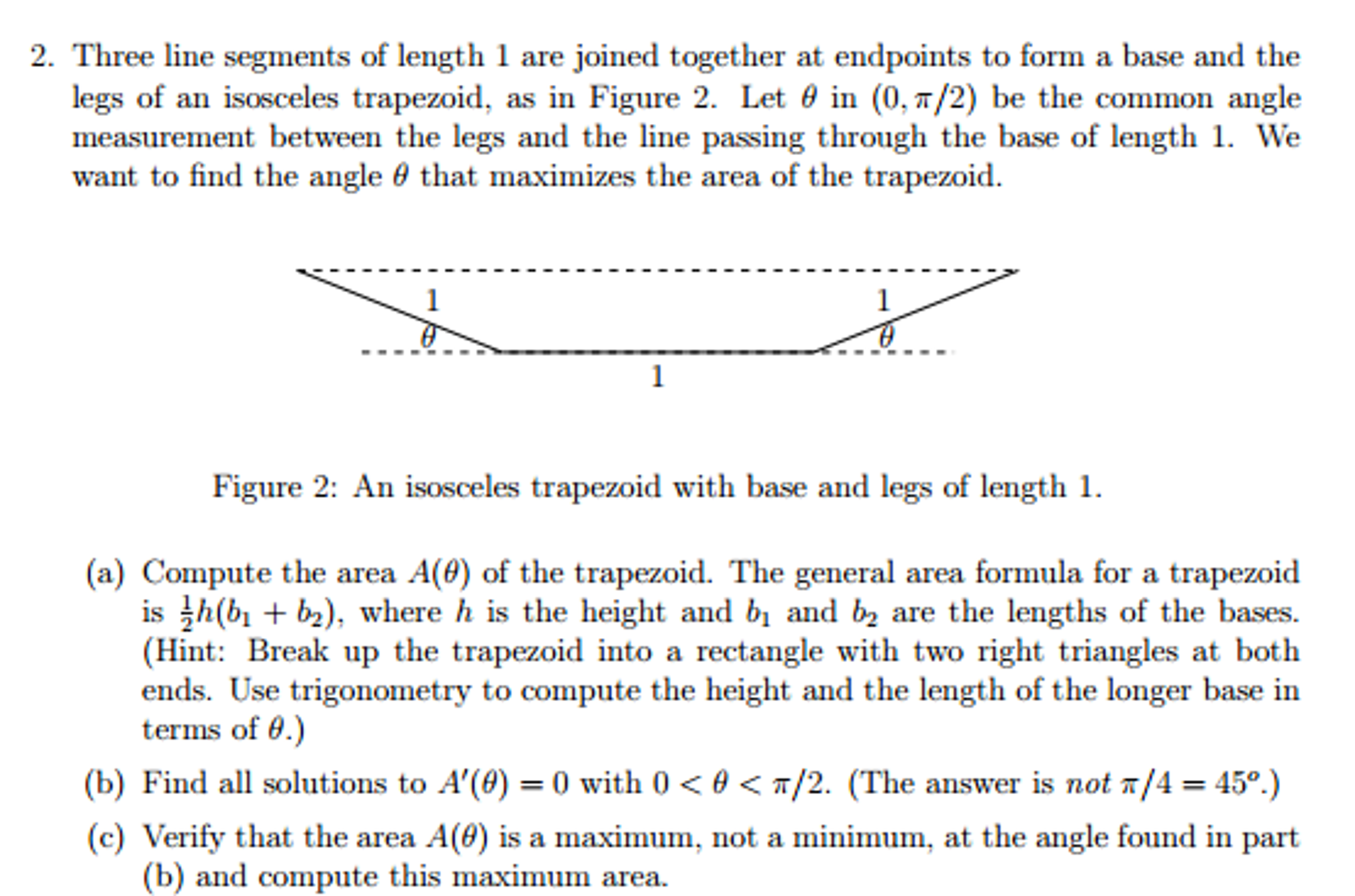 Calculate The Area And Perimeter Of Trapezoids Show Transcribed Image Text  Three Line Segments Of Length