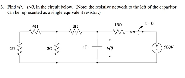 Find v(t), t > 0, in the circuit below. (Note: the