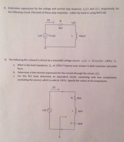 Determine Expressions for the voltage and current
