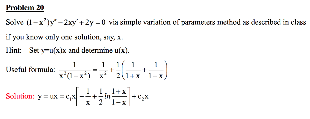 "Solved: Solve (1 - X^2)y"" - 2xy' + 2y = 0 Via Simple Varia ..."