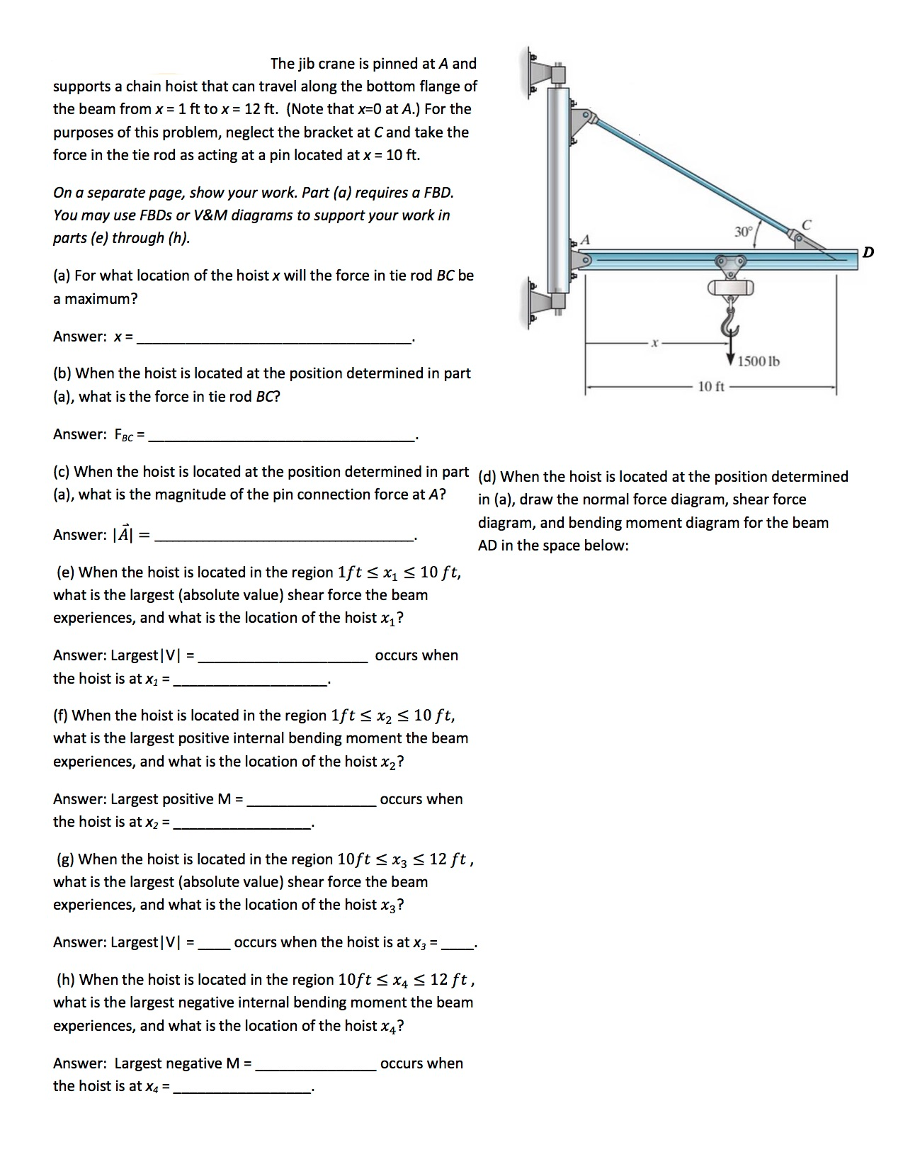 Crane Shear And Moment Diagram Wiring Library Bending Calculator Solved The Jib Is Pinned At A Supports Chain Rh Chegg Com Diagrams Point Loads Examples