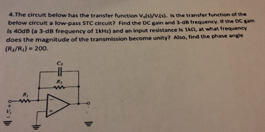 The circuit below has the transfer function V0(s)/
