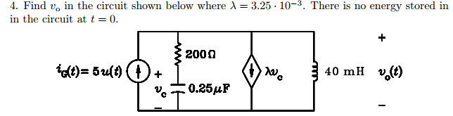 Find vo in the circuit shown below where lambda =