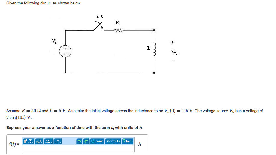 Given the following circuit, as shown below: Assum