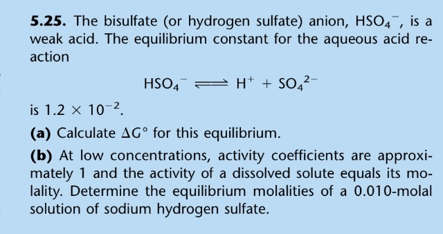 The bisulfate (or hydrogen sulfate) anion, is a w