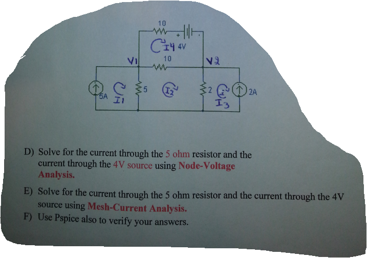 Solve tor the current through the 5 ohm resistor a
