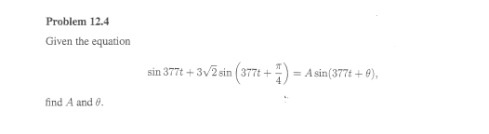 Given the equation find A and theta.