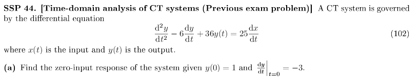[Time-domain analysis of CT systems (Previous exam