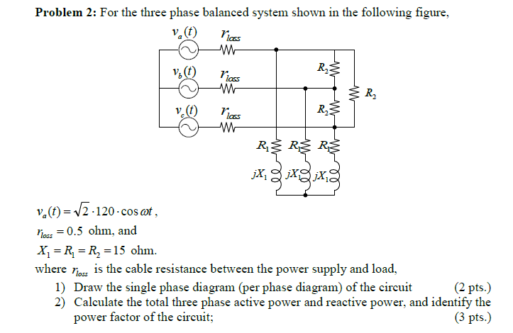 For the three phase balanced system shown in the f