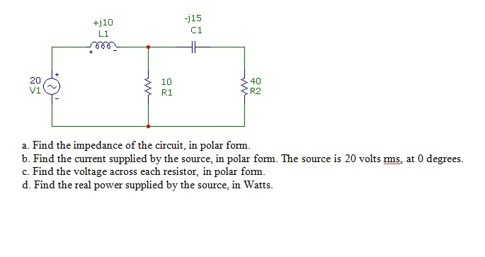 Find the impedance of the circuit, in polar form.