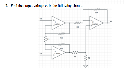Find the output voltage v in the following circui