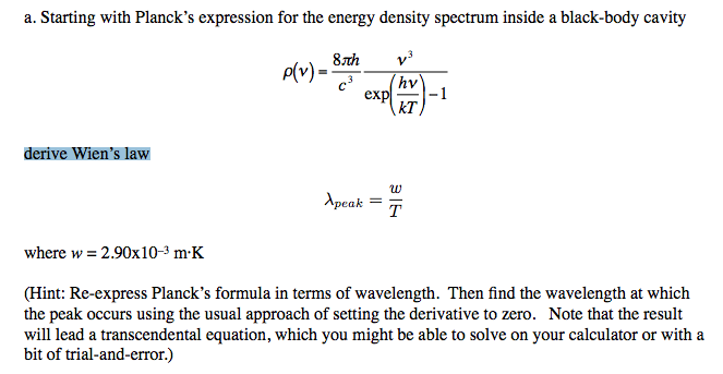 Starting with Planck's expression for the energy d
