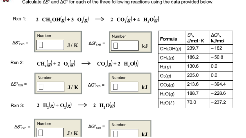 Calculate delta s and delta g for each of the thre for Delta s table chemistry