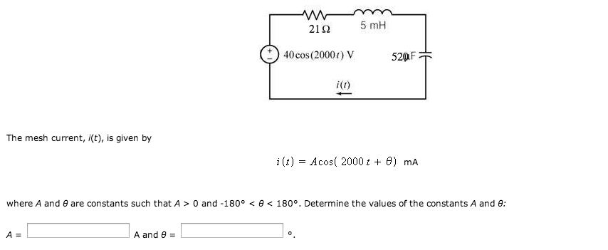 The mesh current, i(t), is given by i{t) = A4cos(