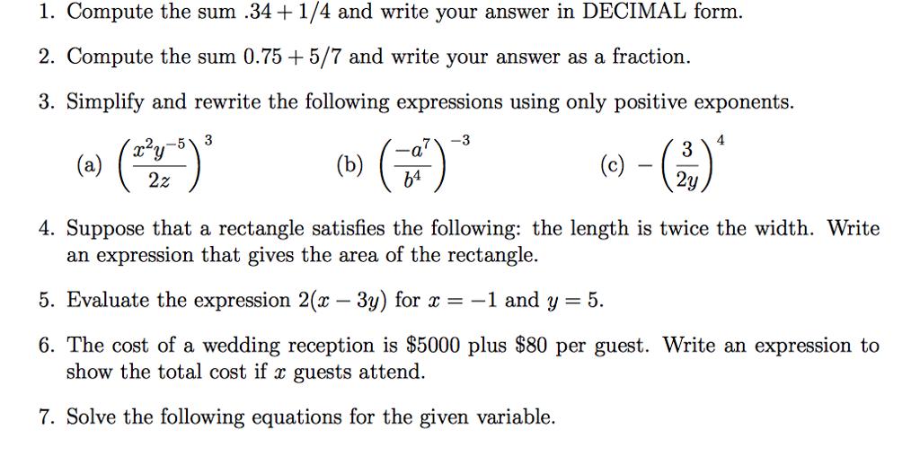 1. Compute The Sum .34 1/4 And Write Your Answer I... | Chegg.com