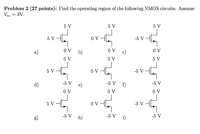 Find the operating region of the following NMOS ci