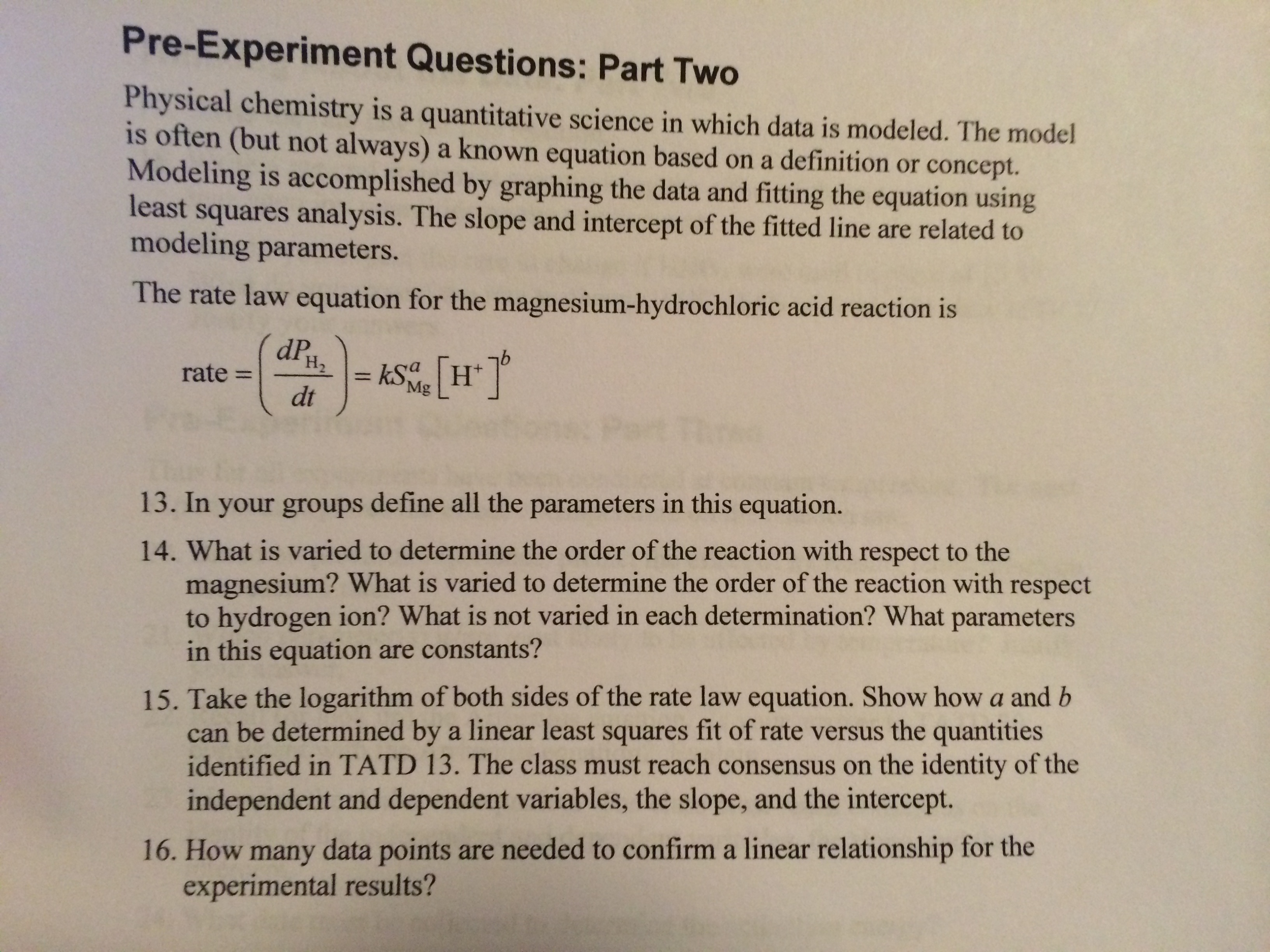 pre experiment questions part two physical chemis com question pre experiment questions part two physical chemis