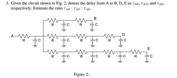 Given the circuit shown in Fig. 2, denote the dela
