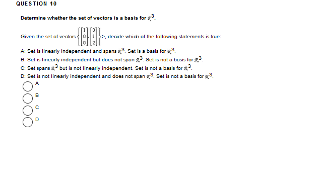 QUE S TION 5 Determine If The Vector U Is In The C... | Chegg.com