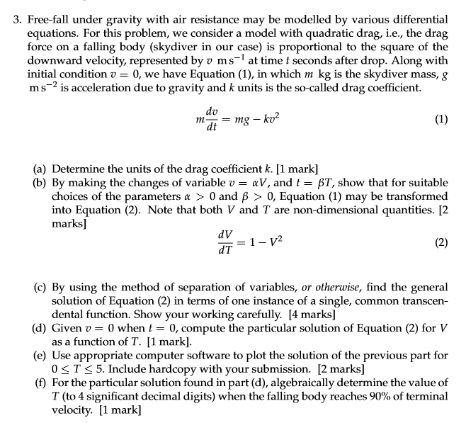 Air Flow Force Equation: Solved: 3. Free-fall Under Gravity With Air Resistance May
