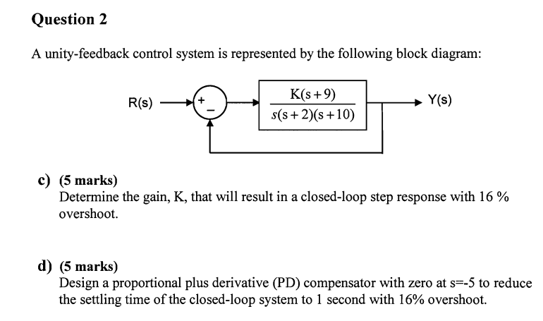 Solved a unity feedback control system is represented by question a unity feedback control system is represented by the following block diagram determine the gain ccuart Gallery