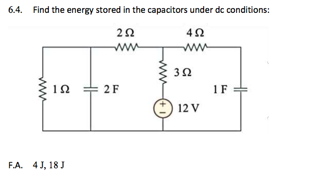 Find the energy stored in the capacitors under dc