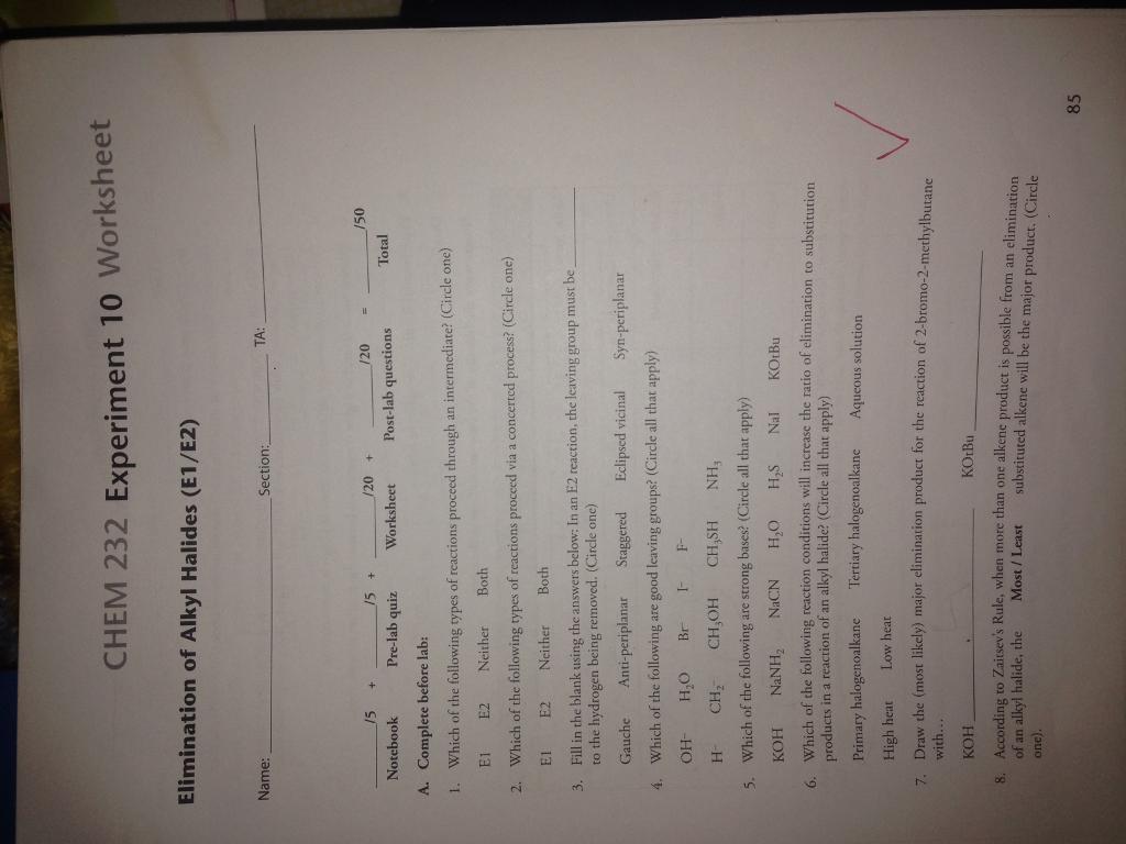 Solved Chem 232 Experiment 10 Worksheet Elimination Of Al