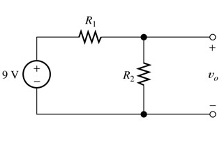 We want to design a voltage-divider circuit to pro