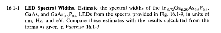 LED Spectral Widths. Estimate the spectral widths