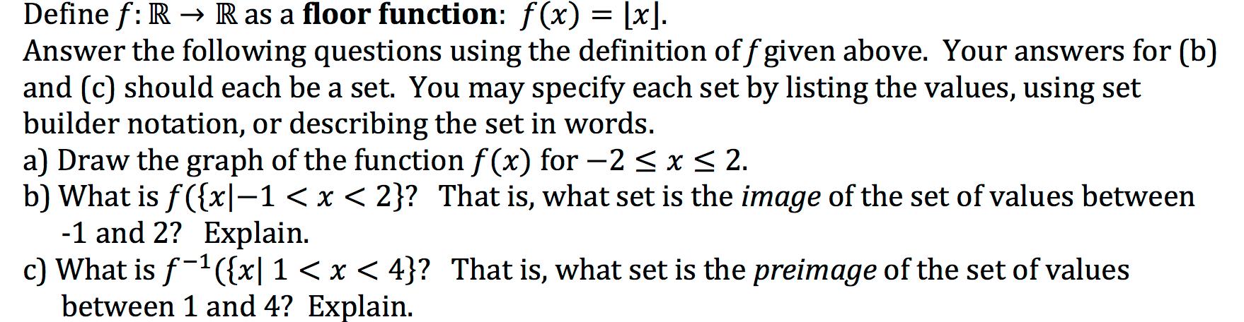 define f r rightarrow r as a floor function f x com question define f r rightarrow r as a floor function f x