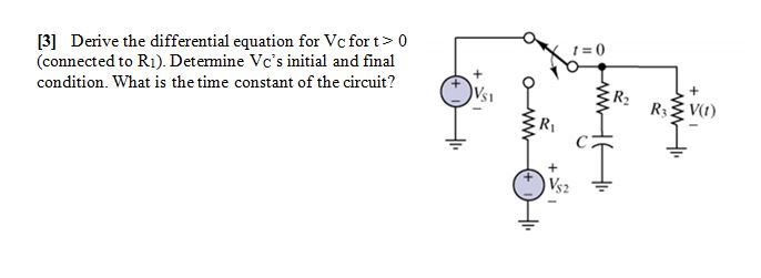 Derive the differential equation for Vc for t > 0