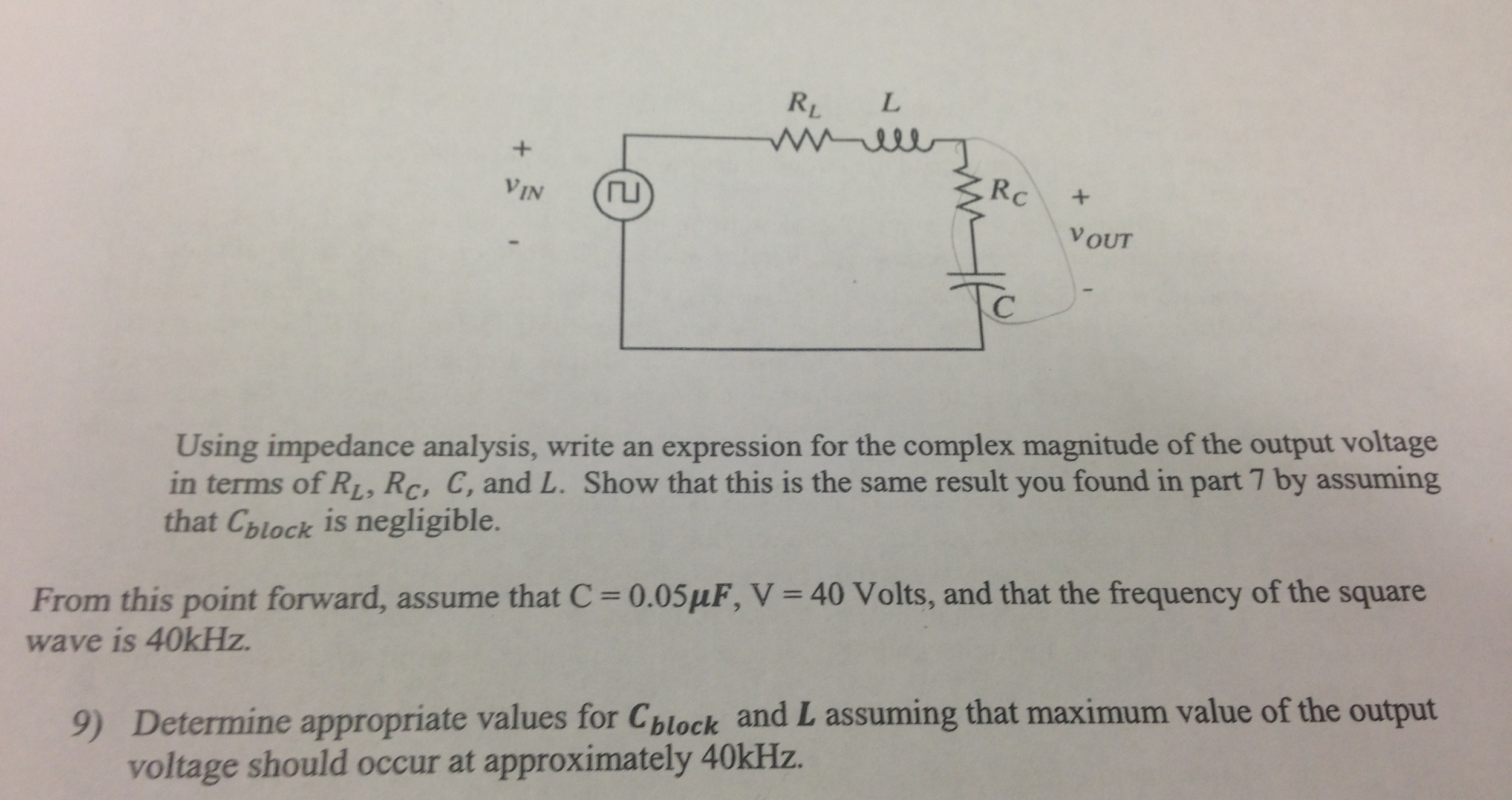Using impedance analysis, write an expression for