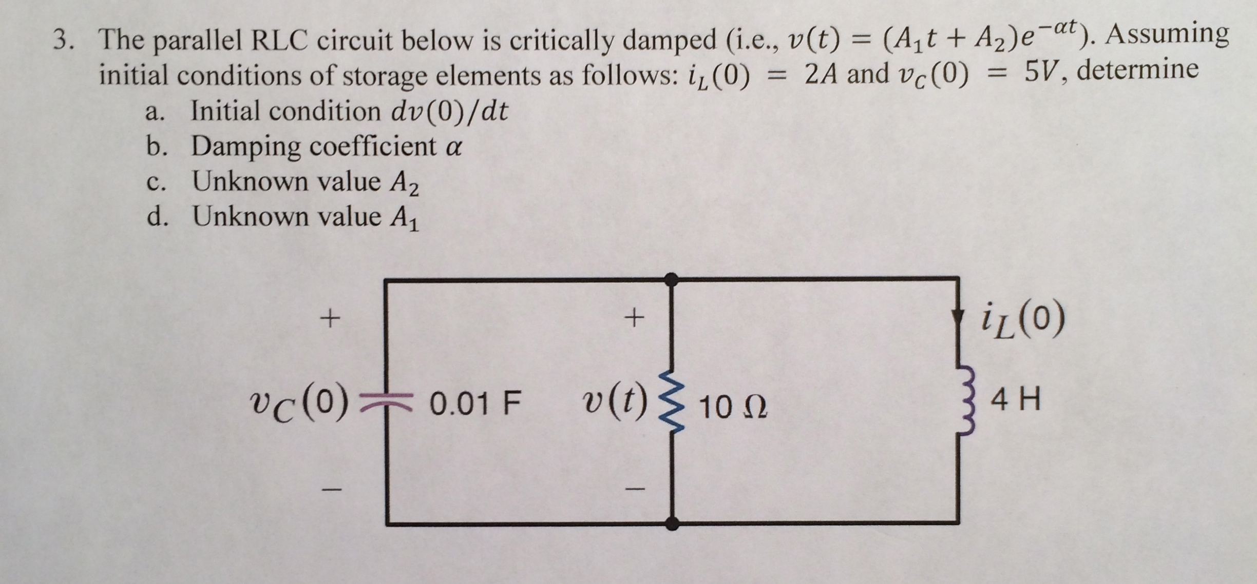The parallel RLC circuit below is critically dampe