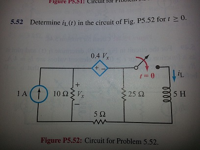 Determine in the circuit of Fig. P5.52 for t >= 0.