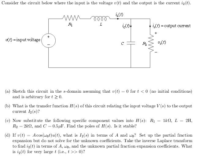 consider the circuit below where the input is volt