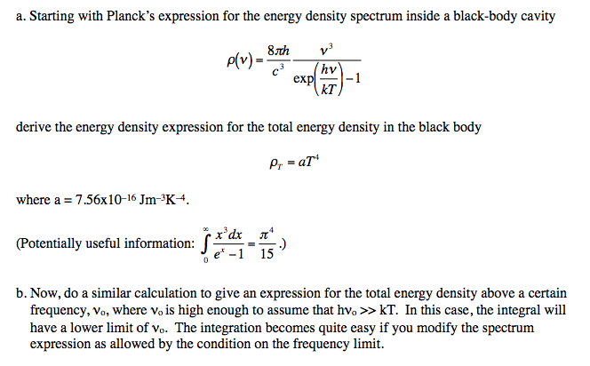 Starting with PlanckÂ's expression for the energy