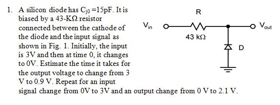 A silicon diode has Cjo =15pF. It is biased by a 4
