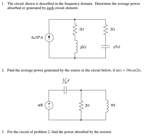 The circuit shown is described in the frequency do