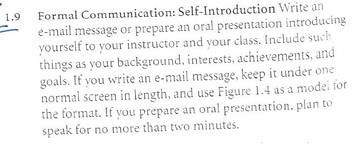 Solved: Formal Communication: Self-Introduction Write An E ...
