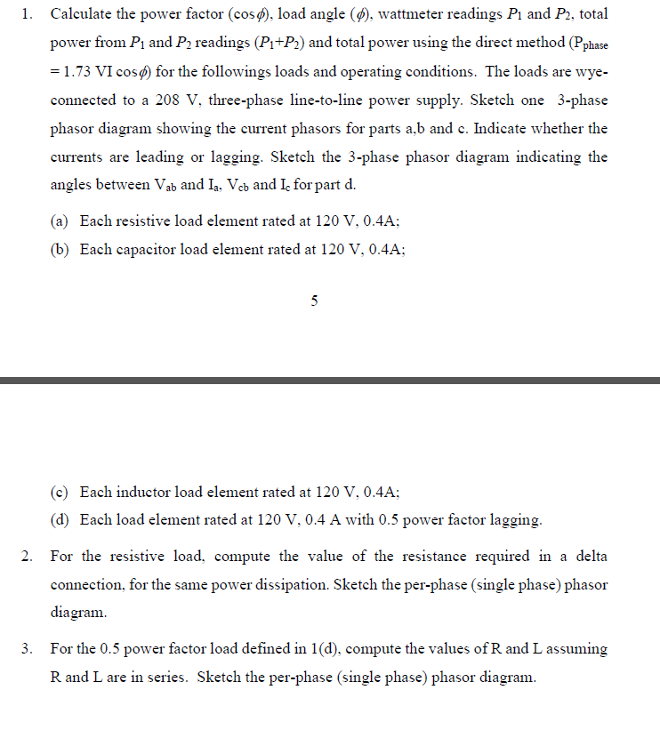 Solved: Calculate The Power Factor (cosの. Load Angle (の ...