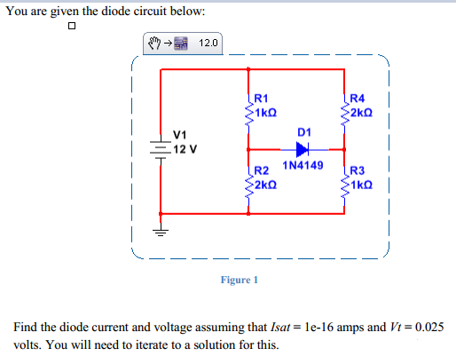 You are given the diode circuit below: Find the d