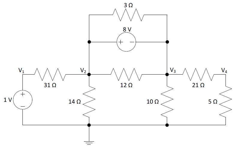 Calculate the node voltages in the circuit (do not