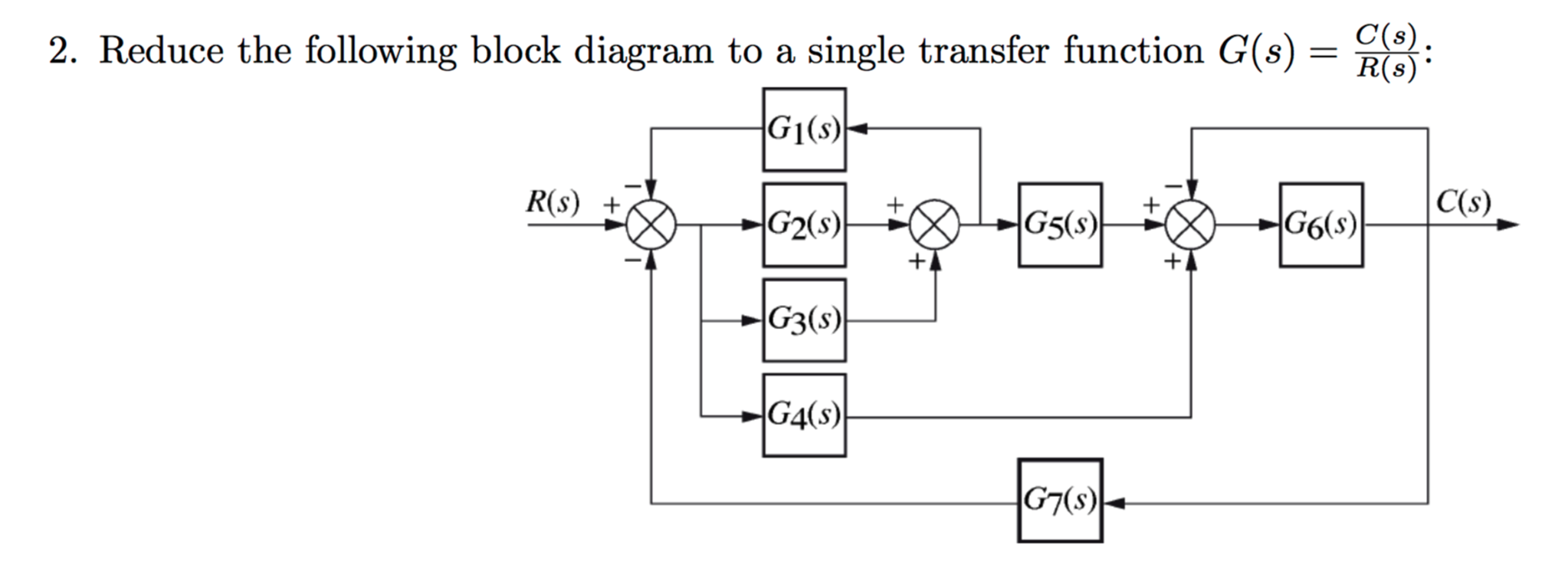 Solved: Reduce The Following Block Diagram To A Single Tra ...