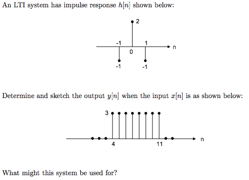 An LTI system has impulse response h[n] shown belo