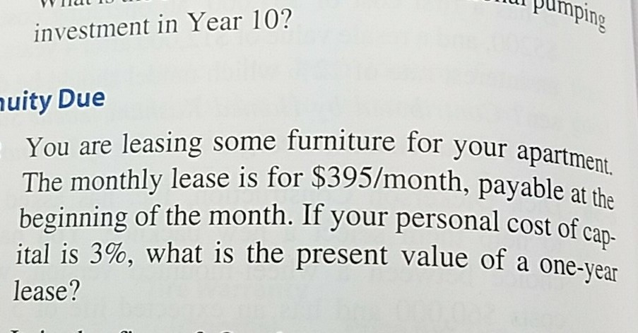 Solved You Are Leasing Some Furniture For Your Apartment