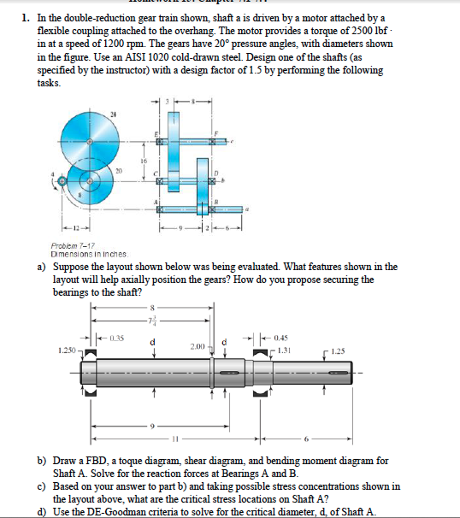 Solved Based On The Following 1 Draw The Shear Moment D: Solved: In The Double-reduction Gear Train Shown, Shaft A