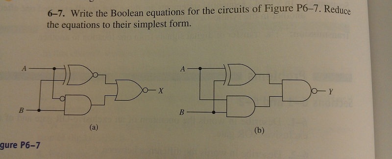 Write the Boolean equations for the circuits of Fi